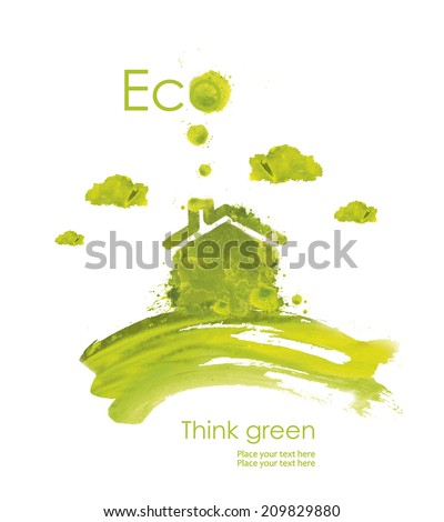 Illustration environmentally friendly planet.Green house on the hill, hand drawn from watercolor stains, isolated on a white background. Think Green. Eco Concept. - stock photo