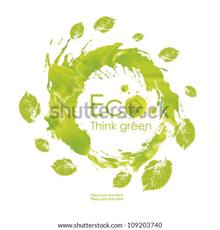 Illustration environmentally friendly planet. Green leaves around the world from watercolor stains,isolated on a white background. Think Green. Ecology Concept. - stock photo