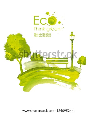 Illustration environmentally friendly planet.Green town, tree,flashlight and a bench in the park, hand drawn from watercolor stains, isolated on a white background. Think Green. Eco Concept.