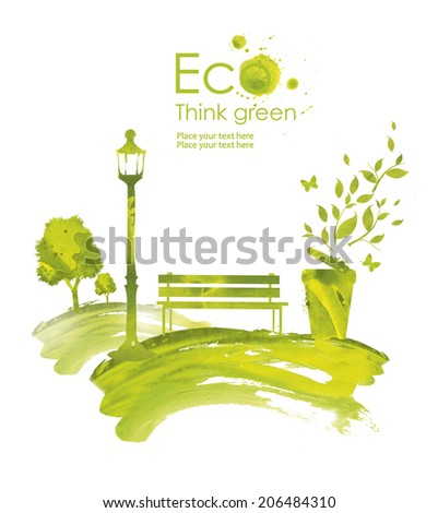 Illustration environmentally friendly planet.Green trash, tree,flashlight and a bench in the park, hand drawn from watercolor stains, isolated on a white background. Think Green. Eco Concept. - stock photo