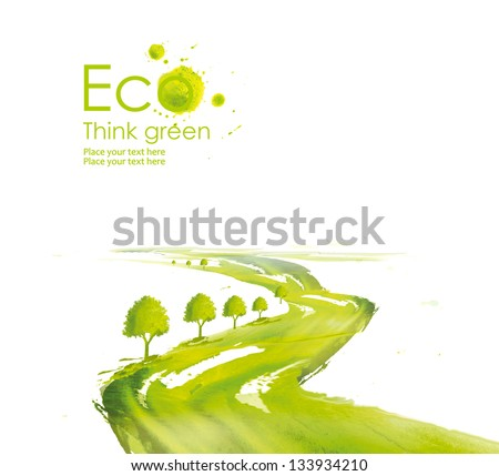 Illustration environmentally friendly planet. Green tree along the road planting  from watercolor stains,isolated on a white background. Think Green. Ecology Concept. - stock photo