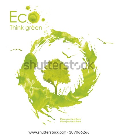 Illustration environmentally friendly planet. Green tree and birds from watercolor stains,isolated on a white background. Think Green. Ecology Concept. - stock photo