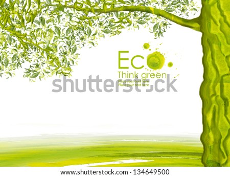 Illustration environmentally friendly planet.Green tree and hills, hand drawn from watercolor stains, isolated on a white background. Think Green. Eco Concept. - stock photo