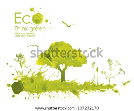 Illustration environmentally friendly planet. Green tree on a meadow from watercolor stains,isolated on a white background. Think Green. Ecology Concept. - stock photo