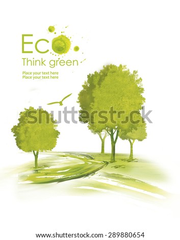 Illustration environmentally friendly planet. Green tree planting along the road from watercolor stains,isolated on a white background. Think Green. Ecology Concept. - stock photo