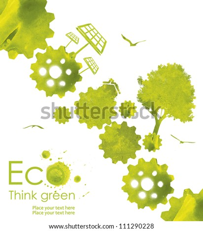 Illustration environmentally friendly planet. Green  trees and solar panel,, hand drawn from watercolor stains,isolated on a white background. Think Green. Ecology Concept. - stock photo