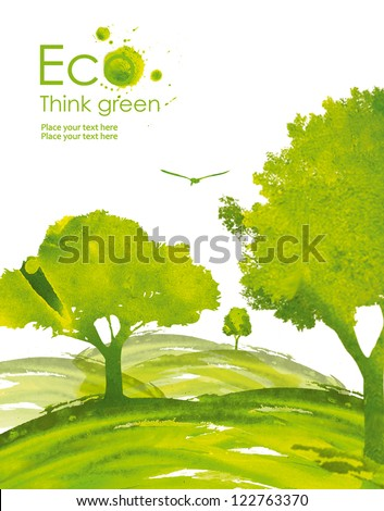 Illustration environmentally friendly planet. Green trees from watercolor stains,isolated on a white background. Think Green. Ecology Concept.