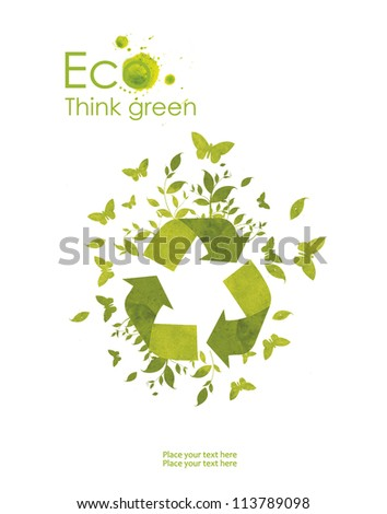 Illustration environmentally friendly planet. hand pointsto the eco sign, from watercolor stains,isolated on a white background. Think Green. Ecology Concept. - stock photo