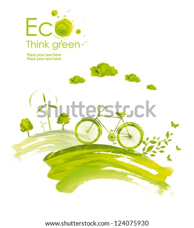Illustration environmentally friendly planet. Landscape with hills, green trees,wind-turbine and ecology bike driving, hand drawn from watercolor stains. Think Green. Eco Concept. - stock photo