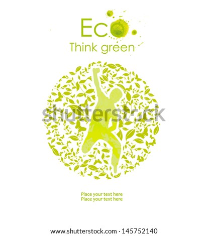 Illustration environmentally friendly planet.  Think Green. Ecology Concept. - stock photo