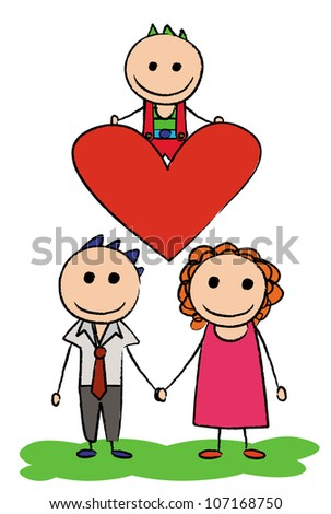 Illustration - Family.Concept:My son is my heart. - stock photo