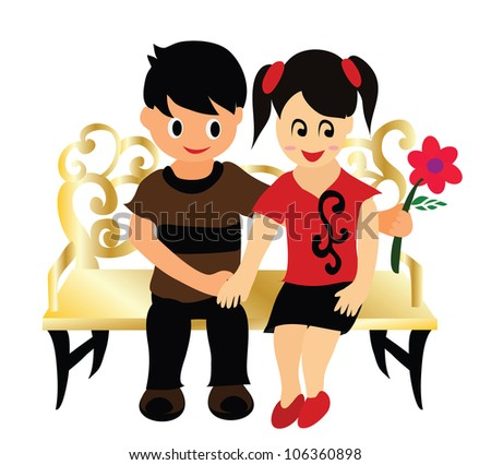 Illustration - First date.He presented her with rose. - stock photo