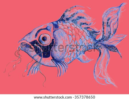 illustration fish aquatic sea creature decorative graphic drawing handmade processed