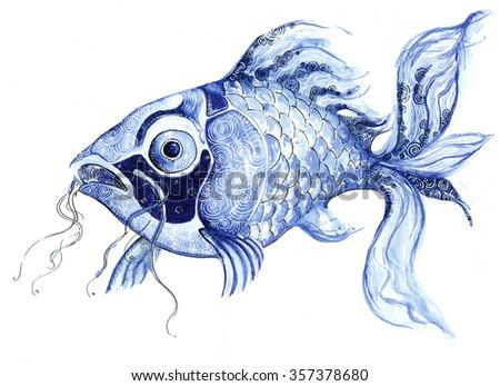illustration fish aquatic sea creature decorative graphic drawing handmade processed - stock photo