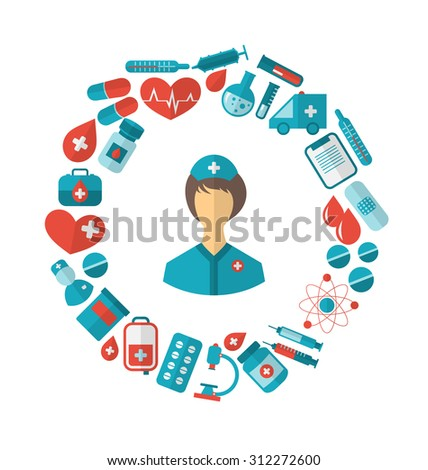 Illustration Flat Icon of Nurse and Medical Equipment and Objects - raster