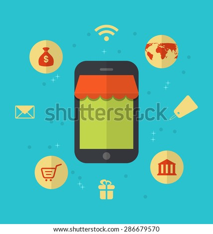 Illustration flat icons of online shopping and online payment - raster - stock photo
