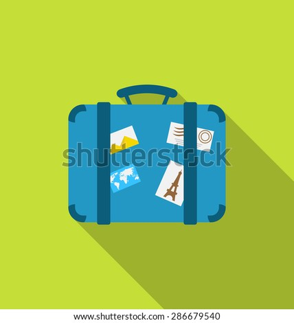 Illustration flat modern icon of handle baggage with funky stickers and photoframes, long shadow design - raster - stock photo