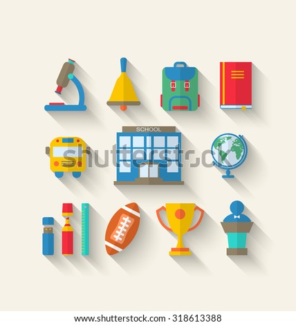 Illustration Flat Simple Icons of Elements and Objects for High School, Long Shadow Style Design - raster