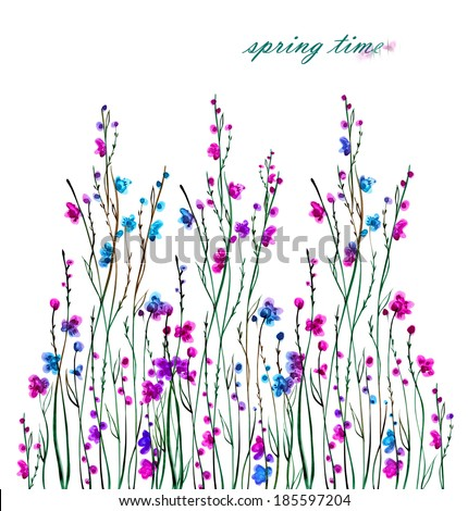 illustration floral background -2.Watercolor flowering bush . - stock photo