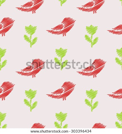 Illustration Floral Seamless Pattern with Abstract Birds and Flowers, Vintage Background - raster - stock photo