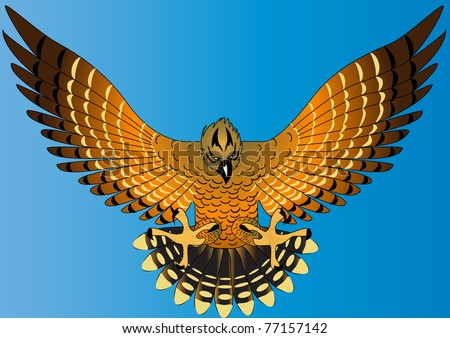 illustration flying powerful eagle on turn blue background