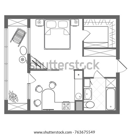 Illustration foor plan studio oneroom apartment stock for Photography studio floor plans