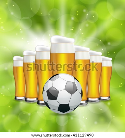 Illustration Football Poster with Glasses of Beer and Soccer Ball. Glowing Sport Background - raster - stock photo