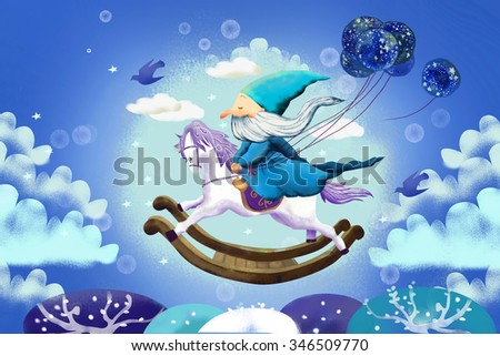 Illustration for Children: And Old Kind Magician is Flying by Riding on a Wooden Horse Chair. Realistic Fantastic Cartoon Style Story / Scene / Wallpaper / Background / Card Design. - stock photo