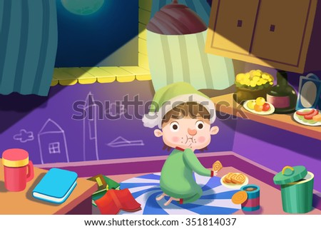 Illustration For Children: Hungry Boy Gets up to Steals some Food at Night, but was Caught in the Act! Realistic Fantastic Cartoon Style Artwork / Story / Scene / Wallpaper / Background / Card Design.