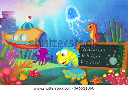 Illustration for Children: Let's start our lesson! The Little Fish first Becomes a Teacher in the Sea School. Realistic Fantastic Cartoon Style Story / Scene / Wallpaper / Background / Card Design.