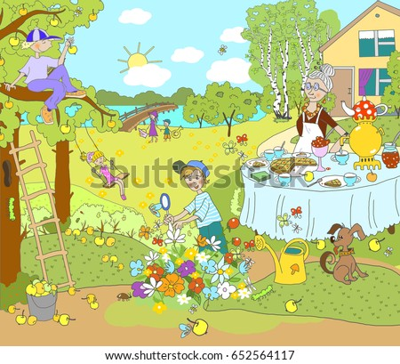 Illustration for children. Summer picture, pastime, outside the city, in the country, in nature. Grandmother at the table pours tea, the boy explores insects, sits on a tree, the girl swings.