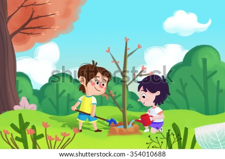 Illustration For Children: The Girl and Boy is Planting Tree in Arbor Day. Realistic Fantastic Cartoon Style Artwork / Story / Scene / Wallpaper / Background / Card Design  - stock photo