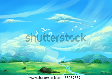 Illustration For Children: The Super Clear Blue Sky. Realistic Fantastic Cartoon Style Artwork / Story / Scene / Wallpaper / Background / Card Design