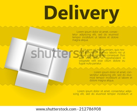 Illustration for delivery gift. White opened box for delivery gift. Illustration on streaky yellow background with word Delivery and place for your text. - stock photo