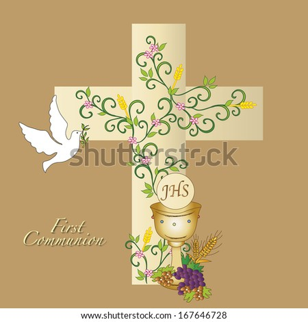illustration for first communion with cross, dove and chalice - stock photo