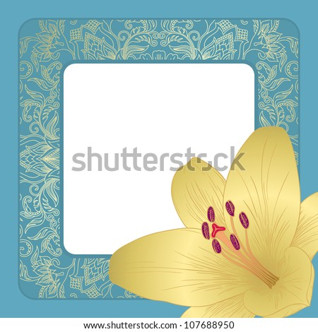 Illustration for greeting card with lilies. Raster version.