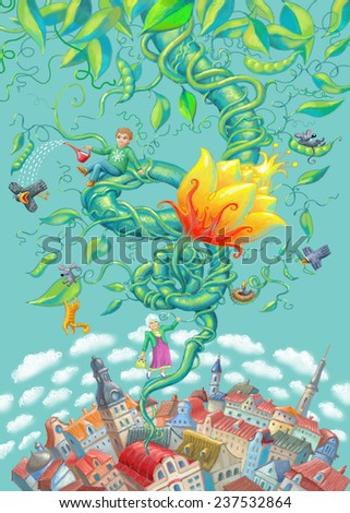 Illustration for the fairy tale Jack and the Beanstalk. - stock photo
