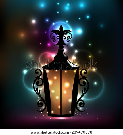 Illustration forging lantern for Ramadan Kareem - raster - stock photo