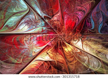 illustration fractal background with bright autumn floral pattern - stock photo