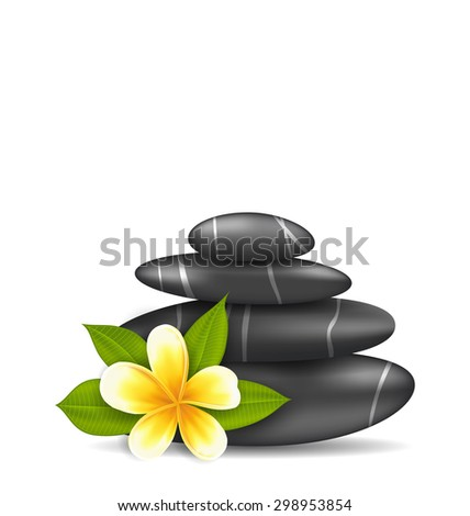 Illustration Frangipani Flower (plumeria) and Pyramid Zen Spa Stones, Isolated on White Background - raster