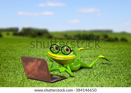 Illustration frog with a laptop on the grass