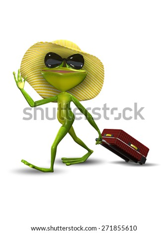Illustration Frog with a Suitcase in a Hat - stock photo