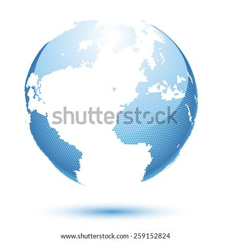 Illustration globe design on a blue background.  - stock photo