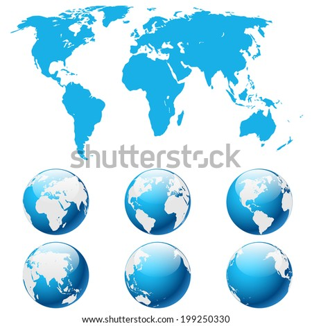 Illustration globe Earth isolated on white background.