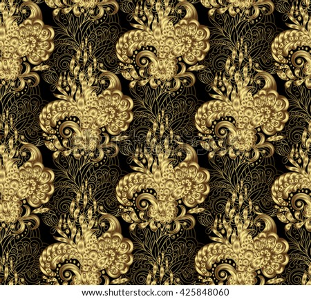 Illustration golden seamless floral background, pattern for continuous replicate - . Gold on black. - stock photo