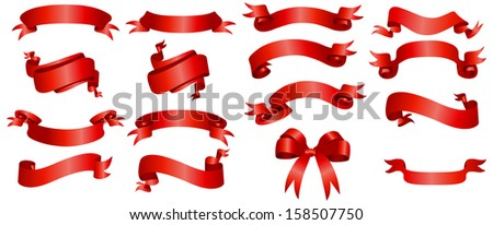 illustration graphic depicting a variety red banner ribbons set over isolated white background - stock photo