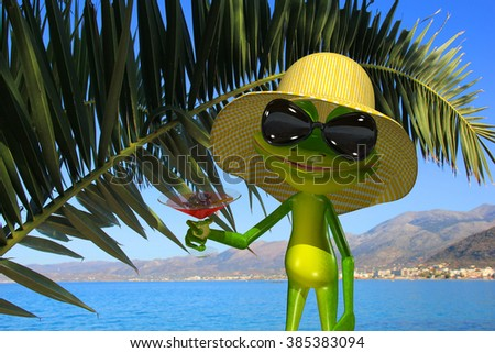 Illustration green frog on the beach with a glass  - stock photo