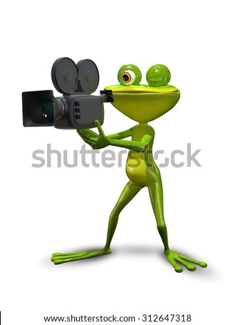 illustration green Frog producer with a camcorder - stock photo