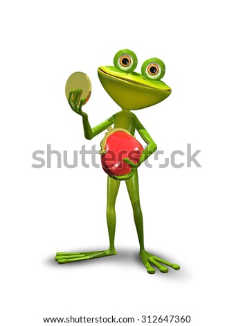illustration green Frog with a red purse - stock photo