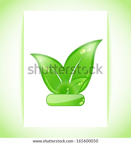 Illustration green nature leaves on sheet - raster